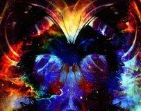 Illustratie van een vlinder in kosmische ruimte gemengde media, abstracte kleurenachtergrond Royalty-vrije Stock Foto's
