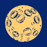 Illustratie van een volle maan met kraters Stock Fotografie