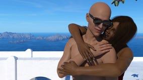 Illustratie van een vrouw die een man omhelzen die zonnebril met het overzees, de eilanden en de blauwe hemel op de achtergrond d vector illustratie