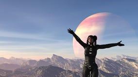 Illustratie van een vrouw die een spacesuit dragen die haar wapens wijd met een vreemde planeet in de hemel achter haar golven royalty-vrije illustratie