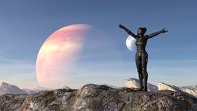 Illustratie van een vrouw die een spacesuit dragen die zich op een bergtop bevinden die haar wapens wijd met een vreemde planeet  stock illustratie