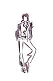 Illustratie van een vrouwelijk bureau in strikte pantsuit Royalty-vrije Stock Afbeeldingen