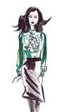 Illustratie van een vrouwelijke bureaumanager Stock Afbeeldingen