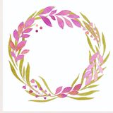 Illustratie van een waterverf, een kroon van groene en purpere bladeren, takjes, roze rozen stock illustratie