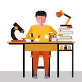 Illustratie van een wetenschapper in de werkplaats Royalty-vrije Stock Afbeelding
