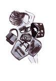 Illustratie van een wijfje in een kleding in de vorm van koffers, zakken en boomstammen Royalty-vrije Stock Afbeelding
