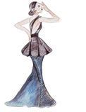 Illustratie van een wijfje in modieuze kleren Royalty-vrije Stock Afbeelding
