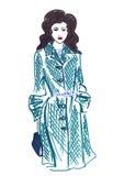 Illustratie van een wijfje in modieuze kleren Stock Afbeelding