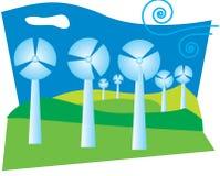 Illustratie van een windfarm op groene heuvels met schone blauwe hemel. Royalty-vrije Stock Afbeelding