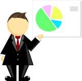 Illustratie van een zakenman en een grafiek stock illustratie