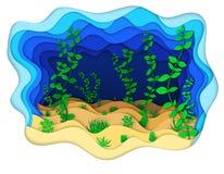 Illustratie van een zeebedding met groene algen Stock Afbeelding