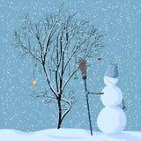 Illustratie van eenzame sneeuwman dichtbij boom. Royalty-vrije Stock Afbeelding