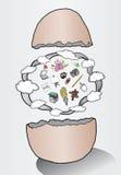 Illustratie van ei de uitbroedende ideeën met wolken Royalty-vrije Stock Afbeelding
