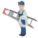 Illustratie van elektricien of kabelkerel die zich met een ladder en een kabel bevinden Royalty-vrije Stock Foto
