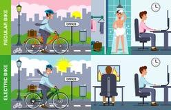 Illustratie van elektrische tegenover regelmatige fiets royalty-vrije stock fotografie