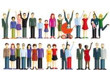 Illustratie van familie en vrienden vector illustratie