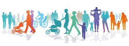 Illustratie van families en mensen in openlucht stock illustratie
