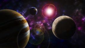 Illustratie van fantasie de ruimteplaneten Stock Afbeeldingen
