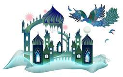 Illustratie van fantasie oosters kasteel met vliegende brand-vogel in de hemel van oostelijk sprookje Dekking voor babyboek stock illustratie