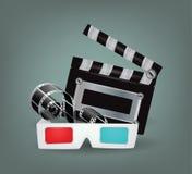Illustratie van filmvoorwerpen met 3d glazen Stock Foto's