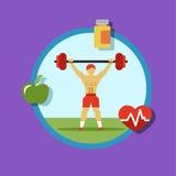 Illustratie van Fitness Pictogrammen, sporten en oefening Stock Foto's