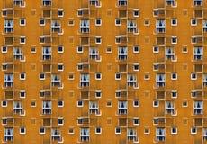 Illustratie van flatgebouw gele voorgevel met gipspleister & witte vensters royalty-vrije stock fotografie