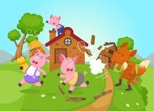 Illustratie van geïsoleerd sprookje drie kleine varkens stock illustratie
