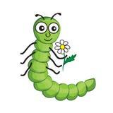 Illustratie van geïsoleerde beeldverhaalworm op witte achtergrond Royalty-vrije Stock Foto's
