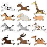 Illustratie van geïsoleerde die landbouwbedrijfdieren op witte achtergrond wordt geplaatst Stock Foto's