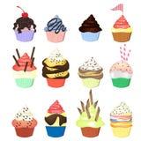 Illustratie van geïsoleerde reeks cupcakes op witte achtergrond Stock Foto's