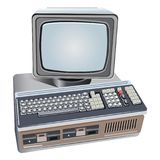 Illustratie van geïsoleerde retro computer Stock Fotografie