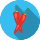 Illustratie van geïsoleerde rode Spaanse peper op witte achtergrond Royalty-vrije Stock Foto's