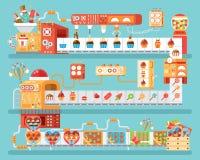 Illustratie van geïsoleerde transportband voor productie en verpakkingssuikergoed, lollyssnoepjes, in vlakke stijl Royalty-vrije Stock Afbeeldingen