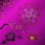 Illustratie van gekleurde bloemen met gradiënt Stock Afbeelding