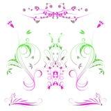 Illustratie van gekleurde bloemen met gradiënt Stock Afbeeldingen