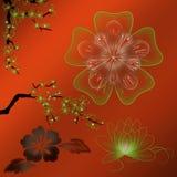 Illustratie van gekleurde bloemen met gradiënt Stock Foto's