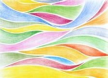 Illustratie van gekleurde golven van iriserend elkaar Stock Fotografie