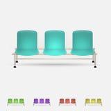 Illustratie van gekleurde het wachten banken Stock Foto