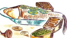Illustratie van gekookte vissen Royalty-vrije Stock Afbeeldingen
