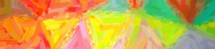 Illustratie van gele, rode en blauwe Olieverf met grote borstelachtergrond, abstracte banner royalty-vrije stock afbeelding