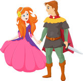 Illustratie van gelukkige charmante prins en mooie prinses Royalty-vrije Stock Foto's