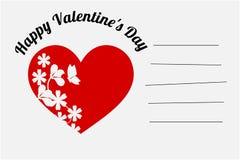 Illustratie van Gelukkige de Dagkaart van Valentine ` s in witte kleur r Royalty-vrije Stock Fotografie