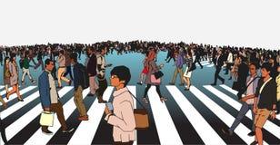Illustratie van gemengde etnische menigte die straat op zebra kruisen royalty-vrije illustratie