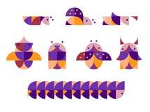 Illustratie van geometrische insecten in duplex vector illustratie