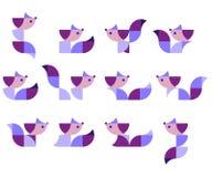 Illustratie van geometrische katten in duplex Royalty-vrije Stock Afbeelding