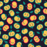 Illustratie van gesneden appelen, naadloos patroon Royalty-vrije Stock Foto's
