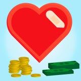 Illustratie van gezond en geldconcept, hart met verband Stock Afbeeldingen