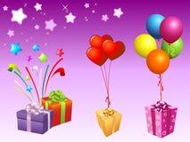 Illustratie van giftbox en ballon Royalty-vrije Stock Afbeelding