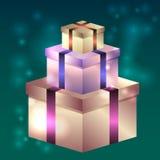 Illustratie van glanzende giftdozen voor verjaardag, Kerstmis Royalty-vrije Stock Afbeeldingen