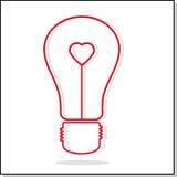 Illustratie van gloeilamp met hart Stock Fotografie